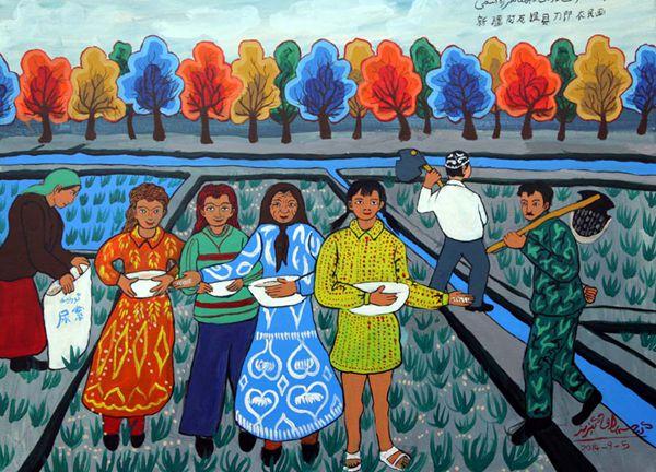 新疆民族大团结画_新疆首届农民画大赛:民族团结系列作品_央广网